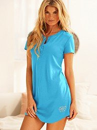 Signature Cotton henley sleepshirt Island Blue