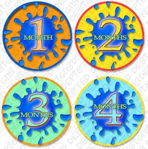SPLASHES OF COLOR ONESIE STICKERS 1 to 12 months by Onesie Stickers, Free Milestone Stickers
