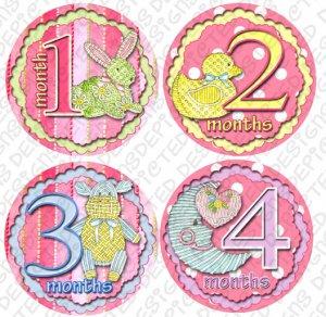 STITCHY STICKY ONESIE STICKERS animals by Onesie Stickers, Free Milestone Stickers