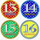 DOTTIE DOTS MONTHLY ONESIE STICKERS boy or girl, Free Milestone Stickers