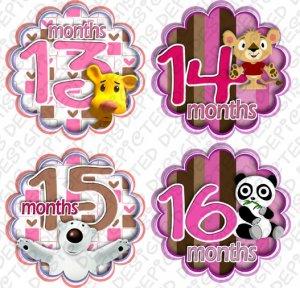 HUGGY BEARS MONTHLY ONESIE STICKERS 13-24 MONTHS, Free Milestone Stickers