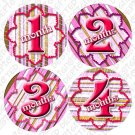 PINK AND BROWN ONESIE STICKERS, 1-12 months, striped SCRAPBOOK picture stickers