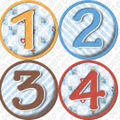 LIL BEES ONESIE STICKERS, 1-12 months, boys blue checkered striped picture stickers