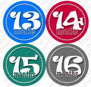 BOYS DANCING DOTS ONESIE STICKERS 13 to 24 months by Onesie Stickers, Free Milestone Stickers