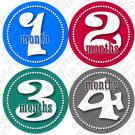 BOYS DANCING DOTS ONESIE STICKERS 1-12 months by Onesie Stickers, Free Milestone Stickers