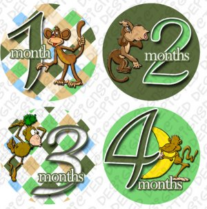 Onesie stickers BOYS MONKEYS green baby shower gifts