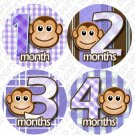 Monthly Onesie stickers Girl Monkey Stripes pink white baby shower gifts