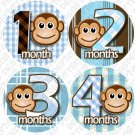 Monthly Onesie stickers Boy Monkey Stripes blue white baby shower gifts