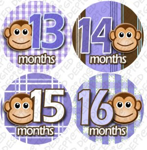 Purple Monkey Stripes Monthly Onesie stickers baby album stickers