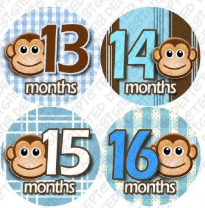 Monkeys 13 to 16 Monthly Onesie Stickers blue boys for expecting mothers