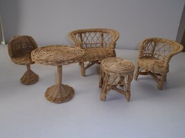 Adorable Wicker Dollhouse Furniture Sofa, Love seat, Bar Height Bistro Chair &Tables