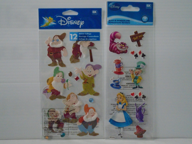 Disney Dimensional Sticker-Snow White & 7 Dwarves & Alice In Wonder Land by EK
