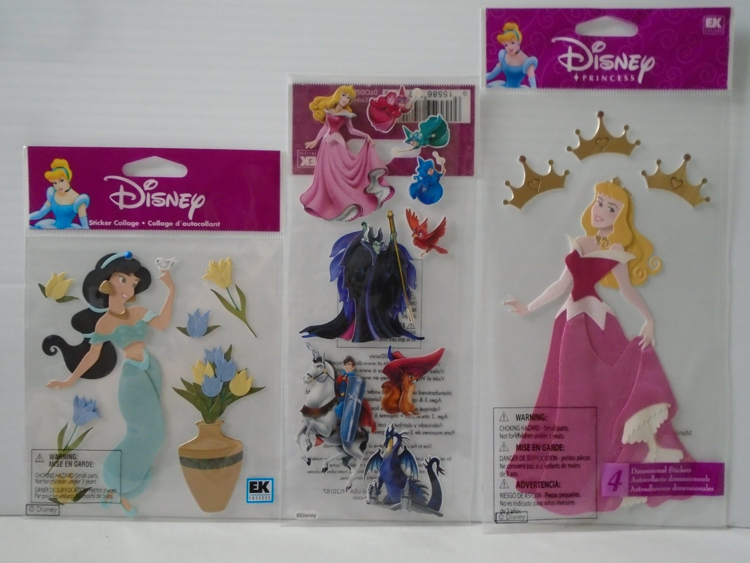 Disney Princess 3-D Stickers - Jasmine w/ Flow and Sleeping Beauty - 3 Packages