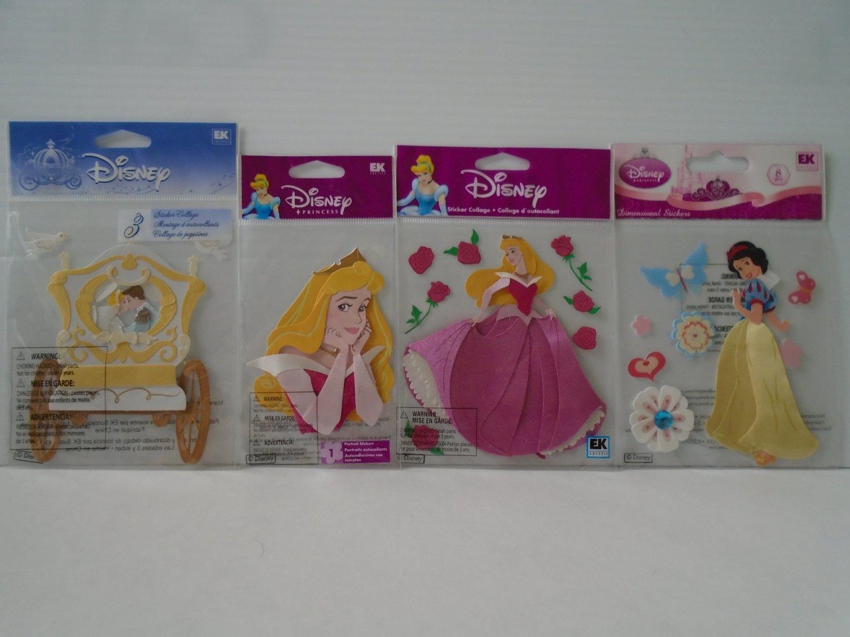 4 Disney Princess Dimensional Stickers: Snow White, Cinderella, and Sleeping Beauty