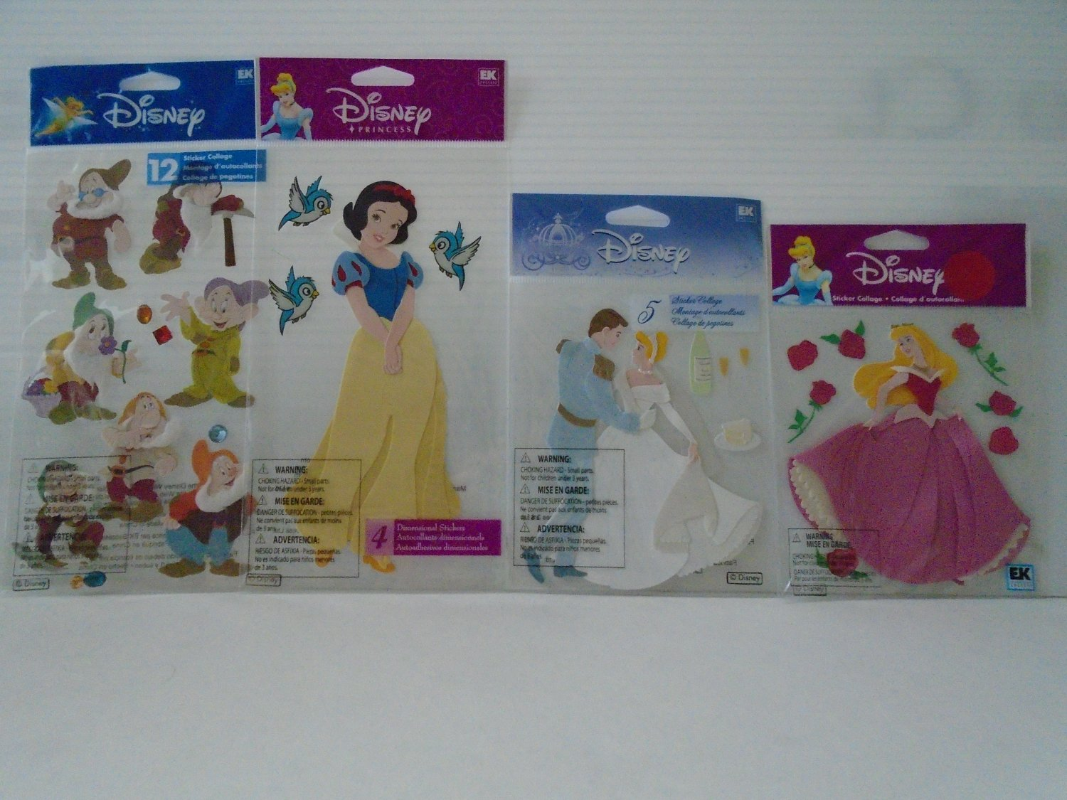 Jolee's Boutique Dimensional Stickers Disney Snow White, Cinderella, 7 Dawrves,Sleeping Beauty