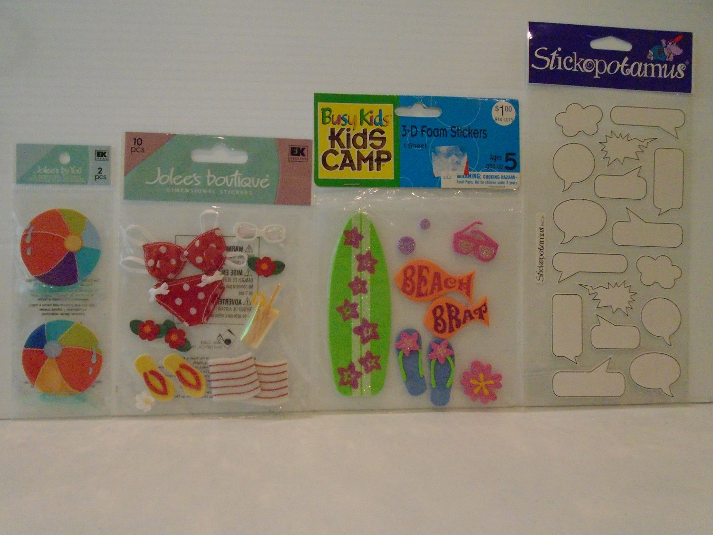 Jolee's Boutique Dimensional Stickers, Beach Bikini, Sandals, Ball, Surfboard