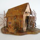 Vintage Brazed Brass Metal Music Box Little House Play Moon River Tune Ship Fast