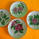 """4 Signed Gold Trim Hand Painted Porcelain Hanging Wall Plate Different Flower 8"""""""