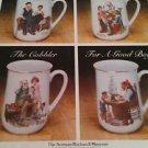 1982 Set (4) Norman Rockwell Museum Coffee Mugs Tea Cups Gold Trim Cobbler Boy +