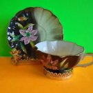 VINTAGE HAND PAINTED JAPAN CUP AND SAUCER Pink Lily on Vintage Green Background