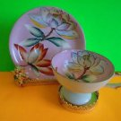 Rare Occupied Japan HandPainted Tea Cup and Saucer Pink Lotus EUC Ship Fast