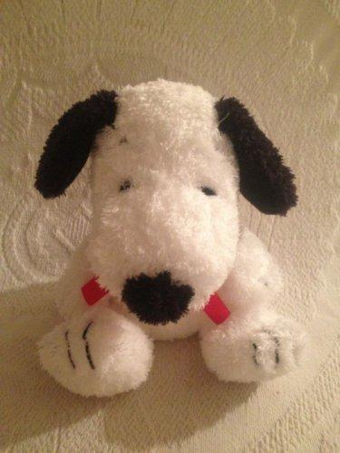 "7"" Peanuts Fluffy Shaggy Snoopy Sitting Plush Stuffed Red Ribbon EUC"