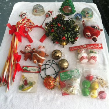 VTG Christmas Lot Santa Ornaments Candy Canes Water Globes Bells Candle Holder