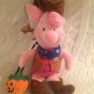 "8"" Disney Winnie The Pooh Halloween Bean Bag Cowboy Piglet Pumpkin Pail"