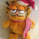 "VTG 7"" Garfield Plush Stuffed Santa Hat Scarf Christmas Red White"