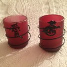 """3"""" Lot Glass & Metal Asian Dragon Candle Holders Dark Pink"""