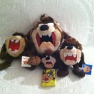 Lot 5 1990's Looney Tunes Taz Plush Stuffed Applause Ace Keychain Sealed Cards