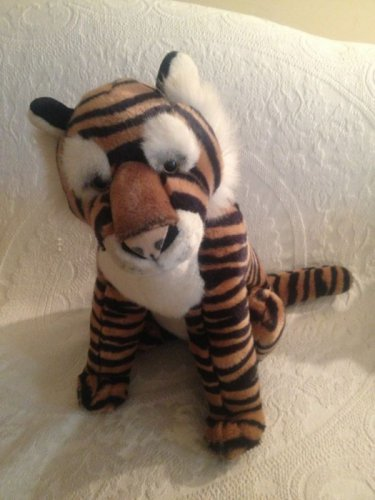"""Large 16"""" Realistic Looking Stuffed Tiger Peeper Pals A & A Plush VGUC"""