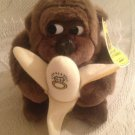 """1990 7"""" Goo Goo Collectables By Embrace Brown Gorilla Holding Banana With Ring"""