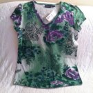 Sonoma Stretch Womens Misses XS Extra Small Green Purple Floral Flower Print NWT
