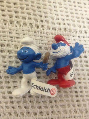 NEW Schleich Smurfs Lot Papa & Smurf Holding Mirror PVC