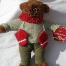"12"" Hallmark Teddy Mittens plush brown bear stuffed Christmas with tag Xmas"