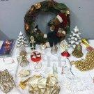 Huge Lot Christmas Ornaments Decor Garland Wreath Cards Tree Santa Angel Gold