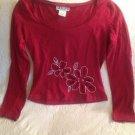 Self Esteem Juniors Medium Red Floral Cut Out Clubwear Shirt