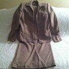 Amanda Smith Misses Size 6 3 Piece Skirt Suit Beige Tan Very Good Condition