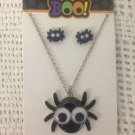 NEW Target Boo! Googly Eye Spider Necklace & Earring Set Halloween Silver Color