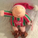 "7"" 1991 Ziggy Doll I Love You Merry Christmas Reindeer Slippers W/ Tag Santa Hat"