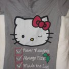Hello Kitty Extra Small Juniors Christmas T-shirt XS Never Naughty Always Nice