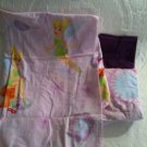 Disney Faired Tinkerbell Twin Sheet Set Flat Fitted Pillowcase Purple Fabric
