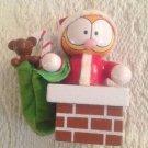 Vintage Garfield Wooden Christmas Ornament Santa In Chimney W/ Bag