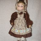 "9"" Bradley Style Vintage Doll Colonial Prairie Brown Dress Bonnet"