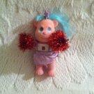 Vintage Tyco Bitsy Bears Pom Pom Pink Bear Wind Up Toy Flocked Cheerleader