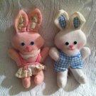 Rare HTF Vintage Knickerbocker Mini Easter Rag Bunny Dolls Plush Rabbit VTG