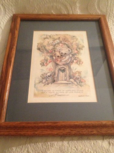 Jody Bergsma Framed Lithograph House Wood Home Made Of Love Alone