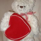 "15"" plush Hallmark From My Heart white bear w/ red zippered Valentine heart"