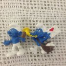 NEW Schleich Smurfs Lot Smurf Holding Mirror & Mailman Blowing Horn Heart PVC